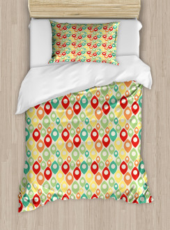 Colorful Shapes Print Duvet Cover Set