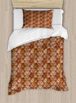 Stylized Curvy Leaves Duvet Cover Set