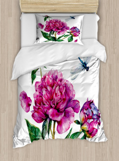 Peonies and Dragonflies Duvet Cover Set