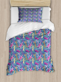 Grunge Colorful Bugs Duvet Cover Set