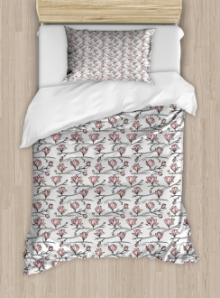 Linear Drawn Blooming Duvet Cover Set