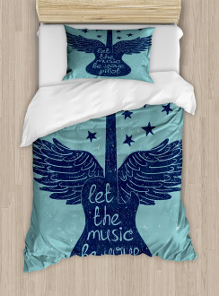 Guitar Wings Stars Quote Duvet Cover Set