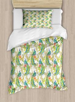 Boho Peacock Feathers Duvet Cover Set