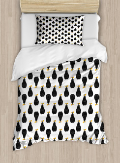 Abstract Silhouette Pattern Duvet Cover Set