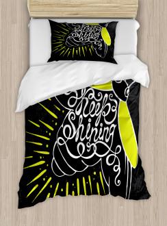 Keep Shining Calligraphy Duvet Cover Set