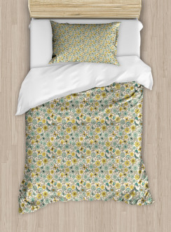 Retro Butterfly Wings Floral Duvet Cover Set
