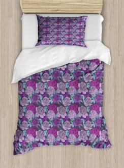 Pastel Tone Delicate Peonies Duvet Cover Set