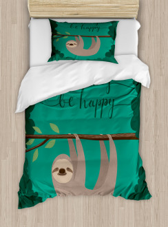 Do Not Hurry Be Happy Text Duvet Cover Set
