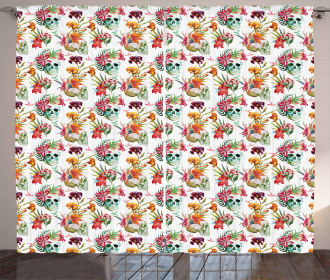 Lilies Blossoms Skull Curtain