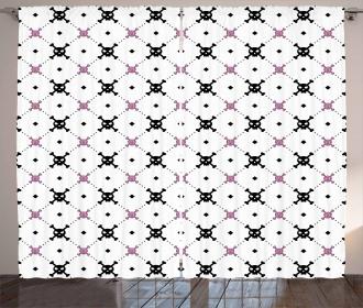 Black Girly Crossbones Curtain