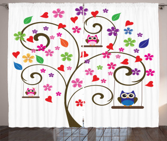 Tree Flowers Playful Birds Curtain