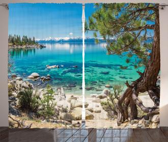 Tahoe Snowy Mountain Curtain