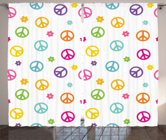 Old Peace Sign Symbol Curtain