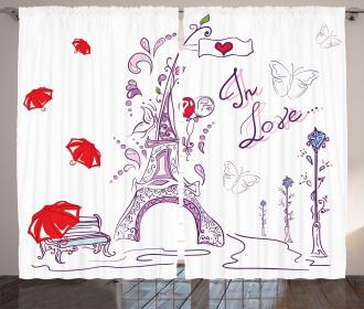 Doodle Romantic Paris Curtain