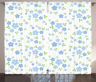 Small Wild Flowers Blue Curtain