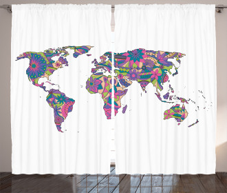 World Map with Flowers Curtain