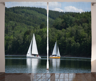 Sailboats on a Lake Curtain