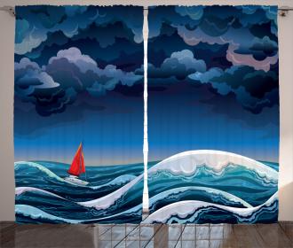 Night Seascape Boat Curtain