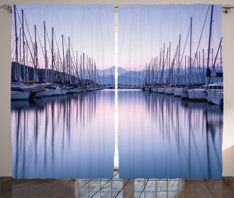 Yacht Harbor in Sunrise Curtain
