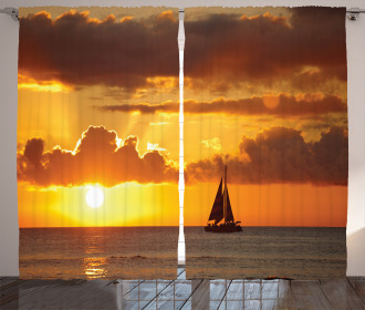 Ocean Boat Freedom Theme Curtain