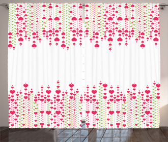 Heart Leaves Flowers Curtain