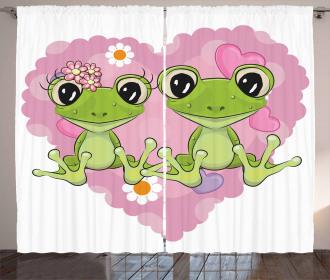 Heart in Love Flowers Curtain