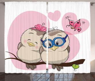 Two Cute Cartoon Birds Curtain