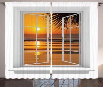 Ocean Sunset View Sky Curtain