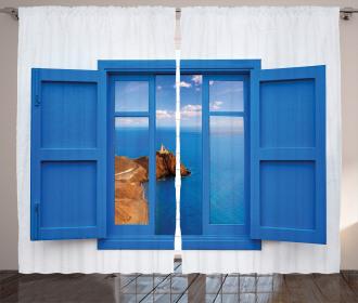 Mountain Ocean Sea Curtain