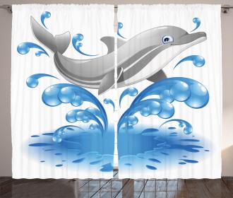 Animal Sealife Cartoon Curtain