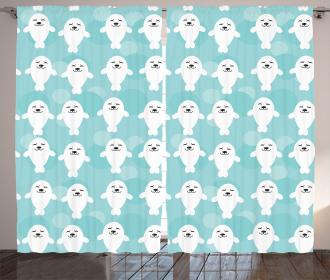 White Baby Seals Ocean Curtain