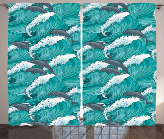Surfing Doodle Dolphins Curtain