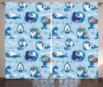 Cartoon Friendly Seal Curtain