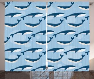 Cartoon Whale Nautical Curtain