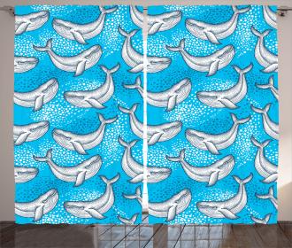 Dotted Whale Sea Ocean Curtain