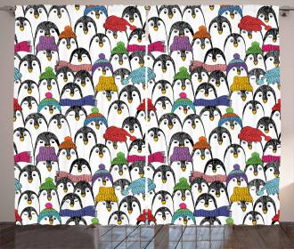 Winter Cartoon Animal Curtain