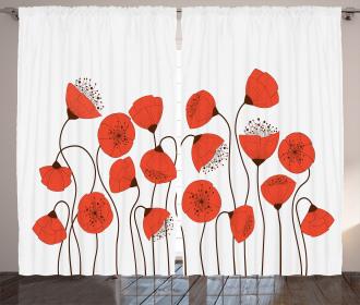 Summer Poppy Flowers Curtain