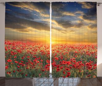 Scenic Field Sunset Sky Curtain