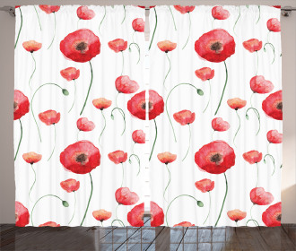 Poppy Blossom Leaves Curtain