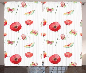 Poppy Butterfly Romance Curtain