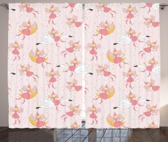 Flying Fairies Swan Moon Curtain