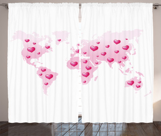 Global Dots Heart Love Curtain