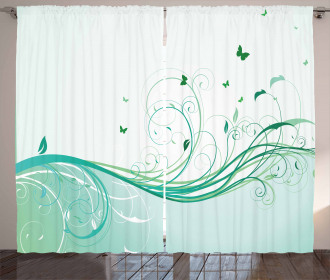 Curvy Lines Wave Flowers Curtain