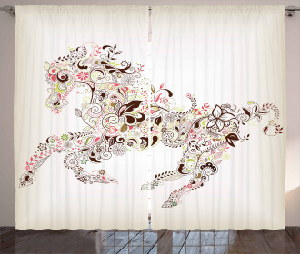 Floral Horse Paisley Curtain
