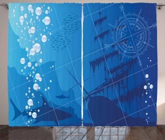Sharks Ship Compass Curtain