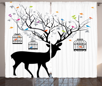 Deer Colorful Birds Curtain