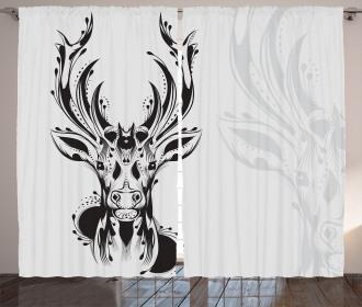 Tribal Deer Shadow Art Curtain