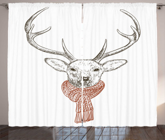 Deer with Scarf Winter Curtain
