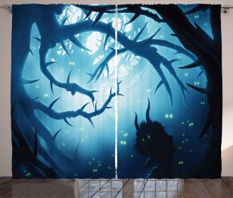 Night Forest Halloween Curtain