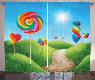 Candy Land Lollipops Curtain